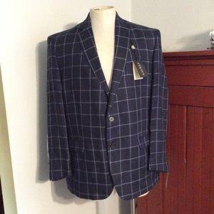 Ralph Lauren Window Pane Check Linen Sport Coat 46